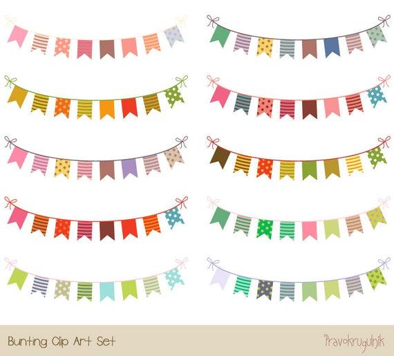 Partei Girlande Geburtstag Ammer Clipart Bunten Banner Fahnen Etsy