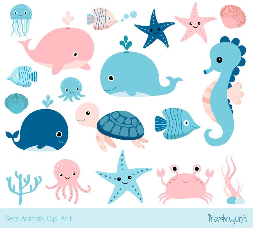 Cute sea animal clipart Kawaii ocean clipart Baby girl | Etsy
