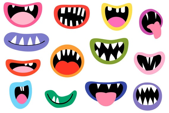 Monster Mouths Clipart Set Funny Face Element Silly Alien Etsy