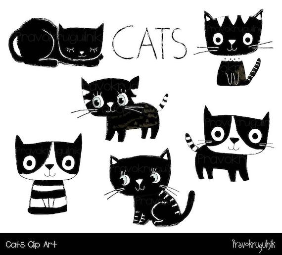 Katze-Clipart schwarz und weiß-Katze-Clip-Art Kawaii