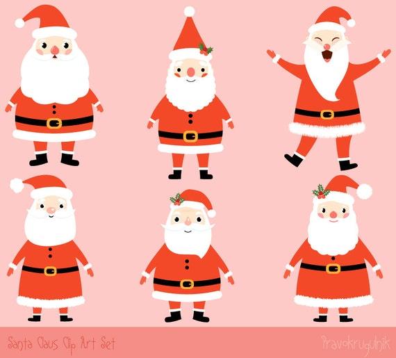 Christmas Clip Art Cute.Santa Claus Clipart Kawaii Santa Clip Art Set Cute Santa Clipart Christmas Clip Art Collection Winter Clip Art Graphic Commercial Use