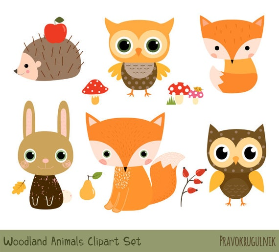 Woodland Animal Clipart Set Cute Forest Animal Clipart | Etsy