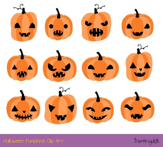 Halloween pumpkin clipart, Cute pumpkin face clip art set, Spooky Halloween  clipart, Digital pumpkin head commercial use, jack o lantern