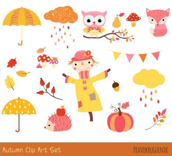 Süße Herbst Cliparts Herbst Clip Art Set Gelb Rosa Etsy