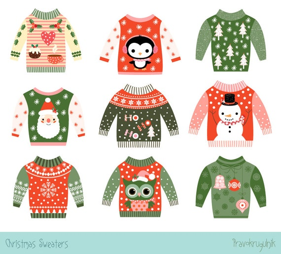 Christmas Sweaters Cute.Cute Ugly Christmas Sweater Clipart Cute Ugly Sweater Party Clip Art Set Tacky Christmas Sweater Graphics Funny Kawaii Christmas Clipart