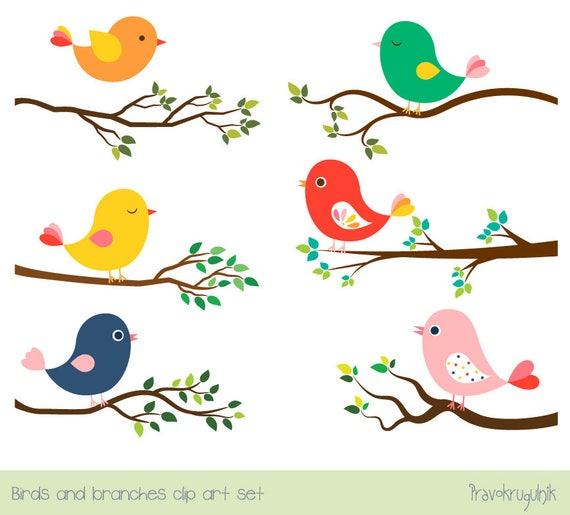 Cute bird clipart set Tree branch clip art Colorful spring ...
