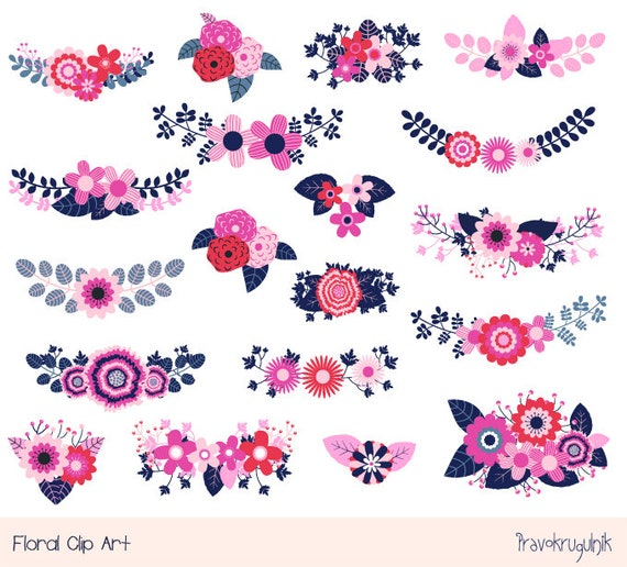 Floral Wedding Clipart Pink Rustic Flower