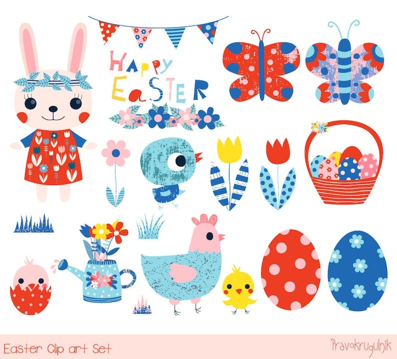 Süße Ostern Clipart Frühling Frohe Ostern Clip Art Set Etsy