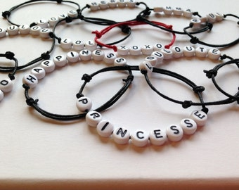 First-name bracelet letters unisex child letters PERSONNALISABLE mounted on an adjustable cotton cord