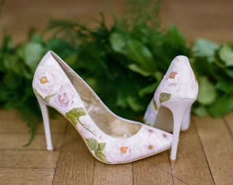 cab297259f4 Pink Garden Rose Hand-painted floral print custom Wedding Shoes