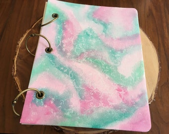 Pink & Green Canvas Scrapbook cover.
