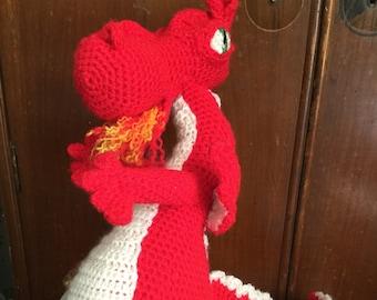 Amigurumi dragon, red dragon stuffed toy, dragon plush, dragon cuddly toy, crochet dragon, toddler toy, fire breathing dragon plushie