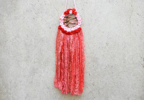 SALE Small Pink Flower Dreamcatcher Pink Dream Catcher Red Etsy Awesome Small Dream Catchers For Sale