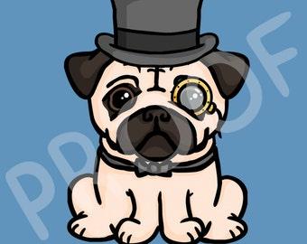 Novelty Posh Pug Digital Art - Gift for Pug Lovers (Download)