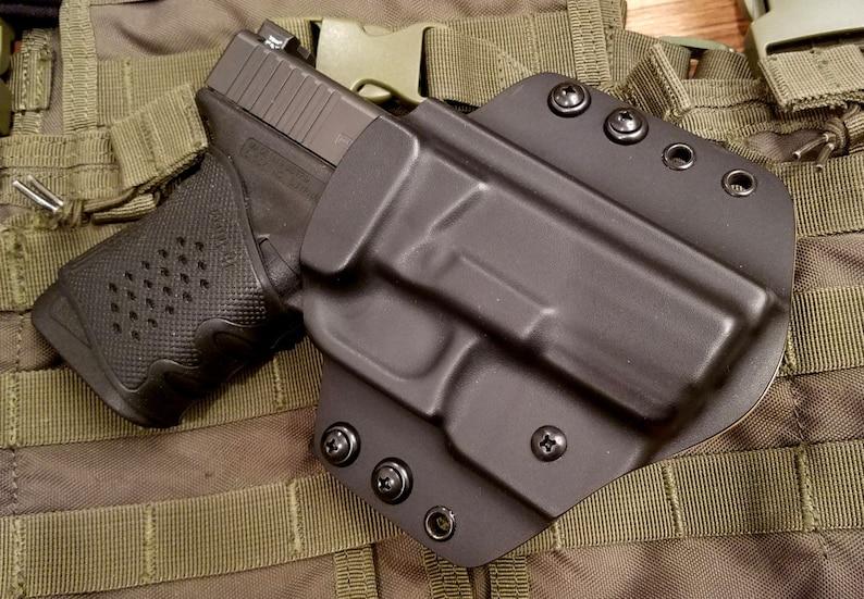 Kydex Holster, Glock 19, 19x, 23, 26, 27, 30, 30s, 32, 42, 43, OWB, Black,  Right Hand