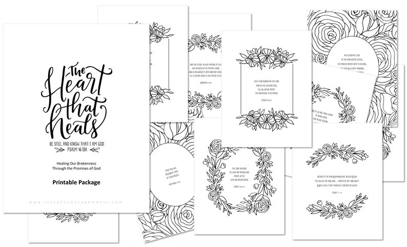 The Heart That Heals printable package10 Bible Verse Coloring image 0