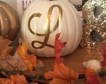 Personalized Monogrammed Pumpkins ! Fall is  here ! White Faux Pumpkins White, Orange or Black ! SALE