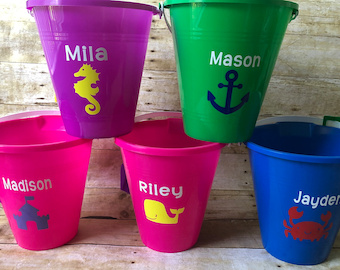 Personalized Beach Pail with Shovel ! Custom anything you want ! Perfect for Birthday Parties or Vacations !