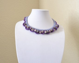 Purple crochet statement necklace