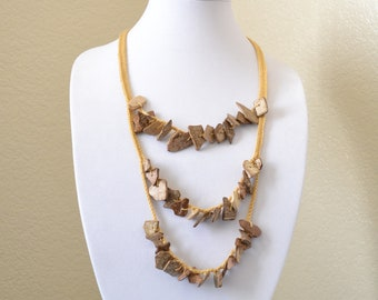Rustic crochet statement necklace