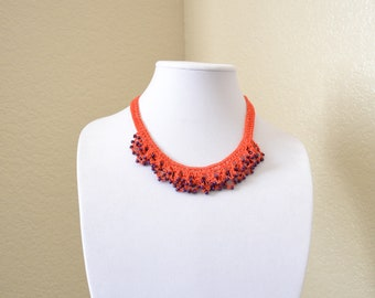 Purple and orange crochet statement necklace