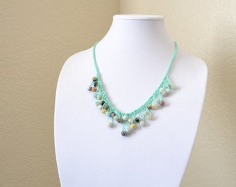 Mint crochet statement necklace