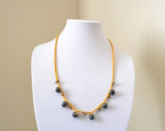 Mustard crochet statement necklace