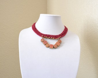 Burgundy crochet statement necklace