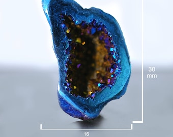 Sparkling Druzy Gemstone-DS0567 PurpleTeal Pear Peacock Purple Druzy Faceted Window Druzy 42x27mm Druzy Cabochon set for wire wrapping