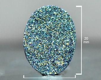Oval Cut Druzy, Cassiopeia Seas, 20 x 15 mm, Druzy Cabochon for wire wrapping, Quartz Druzy Gemstone, Sparkling Geode-DS1658