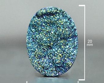 Oval Cut Druzy, Cassiopeia Seas, 20 x 15 mm, Druzy Cabochon for wire wrapping, Quartz Druzy Gemstone, Sparkling Geode-DS1672