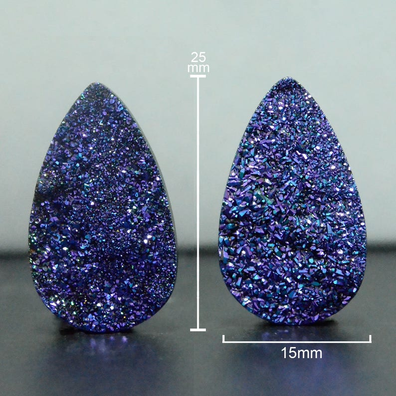 Pear Shape Cut Flat Druzy Peacock Purple Green Drusy Sparkling Druzy Pairs-DS1285 Set of 2 25 x 15 mm for Jewelry Making /& Wire Wrapping