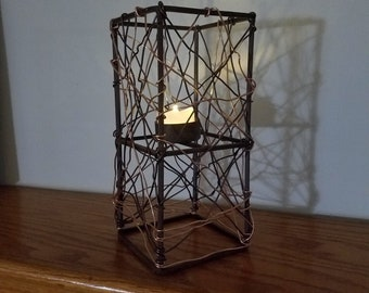 Hand Crafted Abstract Geometric Cube Candle Holder With Aluminium Bronze And Gold Wires