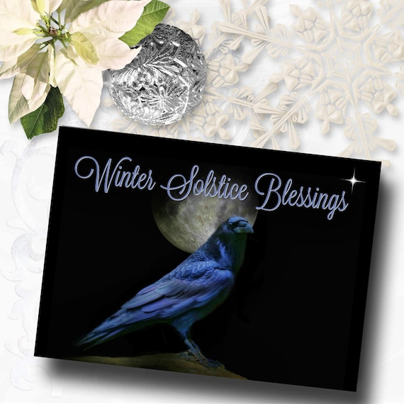 winter solstice raven and moon cards enlightenment and peace etsy