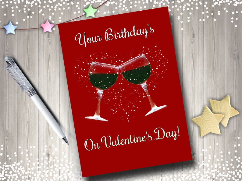 Happy Birthday On Valentines Day Card Wine Humorous Fun Etsy
