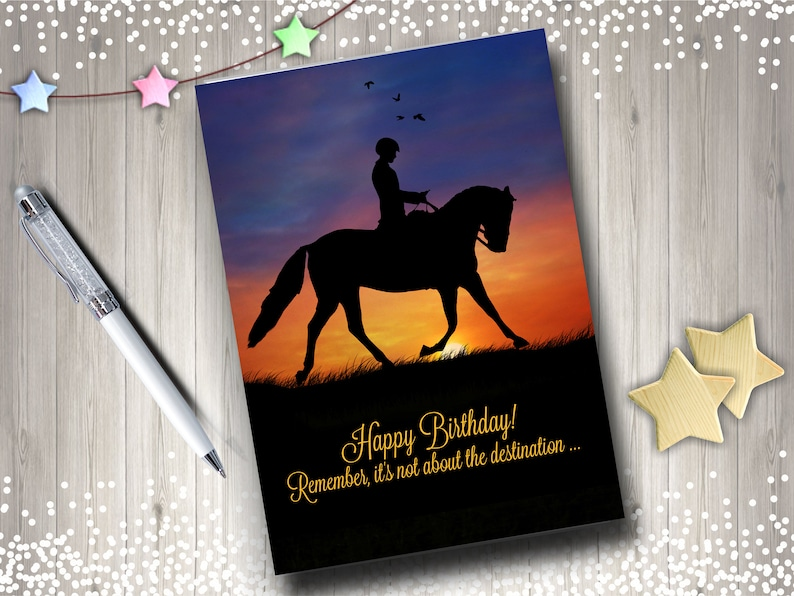 Dressage Horse And Rider Happy Birthday Card