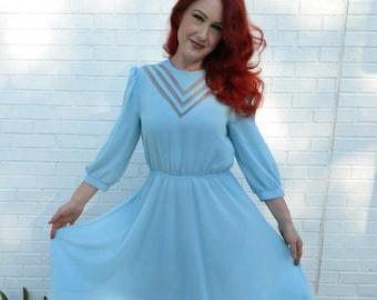 Powder Blue 1970s Chiffon Dress