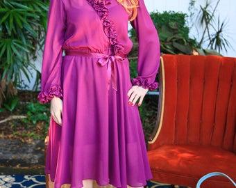 Gorgeous Sheer Plum Dress - 1970s