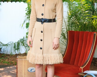 Sophisticated 1960s Wool Dress w/Leather Accents