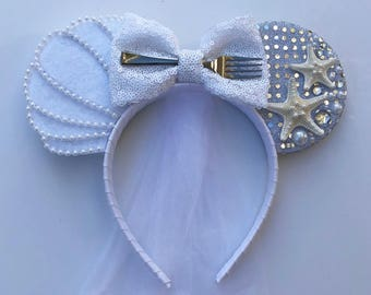 Ariel Inspired BRIDAL Ears (with veil)