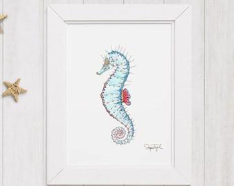 Blue Seahorse watercolor, Seahorse Art, Seahorse illustration, Seahorse wall art, Nautical wall decor, Coastal art, Beach house decor
