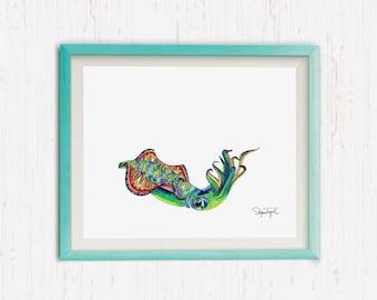 Cuttlefish, Sea Creature Illustration, Cuttlefish watercolor, Aquatic Art