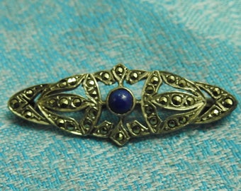 stunning edwardian revival sterling silver marcasite and lapis brooch