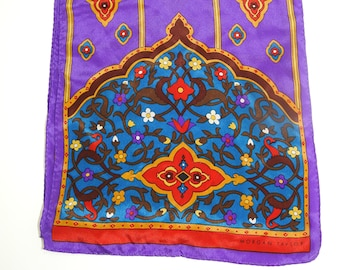 stunning morgan taylor jewel tone arabesque silk scarf,silk scarf,vintage morgan taylor,boho fashion,boho scarf,gift for her