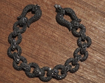 stunning vintage art deco revival sterling silver and marcasite bracelet,vintage bracelet,vintage art deco bracelet