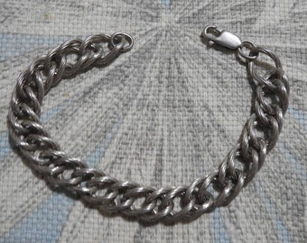 stunning vintage high end sterling silver woven chain link bracelet 7 1/2 inches