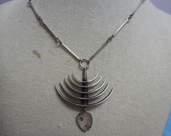Extreamly rare vintage Taxco los castillo sterling silver skeletal fish necklace,mexican jewelry,modernist necklace,taxco necklace