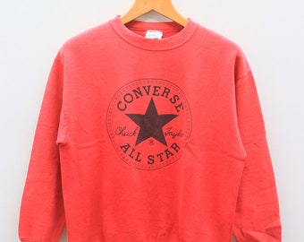 623285ab6498 Vintage 90s CONVERSE All Star Chuck Taylor Big Spell Big Logo Streetswear  Red Pullover Sweater Sweatshirts