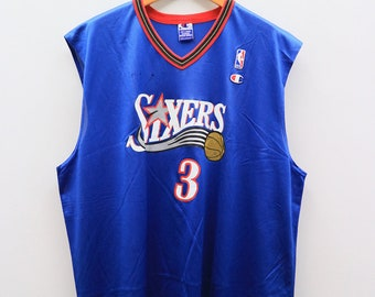 931c23d46d34 Vintage SIXERS Nba IVERSON 3 National Basketball Association Sportswear  Blue Jersey Tank Top Size XXL