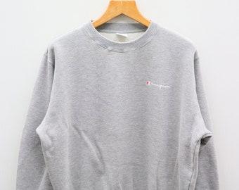 4c5f6ad5c17b Vintage CHAMPION Small Logo Small Spell Sportswear Gray Pullover Sweater  Sweatshirt Size L